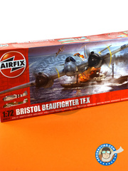 Airfix: Airplane kit 1/72 scale - Bristol Beaufighter TF Mk. X - October 1944 (GB4); August 1945 (GB5) - plastic parts, water slide decals and assembly instructions image