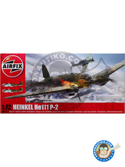Airfix: Airplane kit 1/72 scale - Heinkel He 111 P-2 - Norway, 1940 (DE2); Villacoublay, France 1940 (DE2) - plastic parts, water slide decals and assembly instructions image