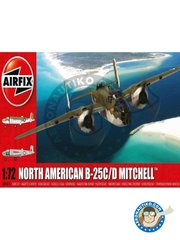 Airfix: Airplane kit 1/72 scale - North American B25C/D Mitchell - Tampa, July 1943 (US7); Bolling Field, July 1943 (US7) - USAF - plastic parts, water slide decals and assembly instructions