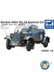 BRONCO MODELS: Military vehicle kit 1/35 scale - German Adler Kfz.13 - photo-etched parts, plastic parts, water slide decals and assembly instructions