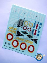 Berna Decals: Marking / livery 1/32 scale -  Republic P-47D Bubbletop D -  (FR0) - Dole and Strasbourg 1945 - water slide decals and placement instructions - for all kits