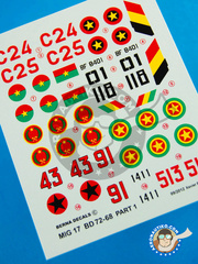 Berna Decals: Marking / livery 1/72 scale - Mikoyan-Gurevich MiG-17 Fresco F - Forca Aerea Nacional Angolana FANA (AO1) - African Air Force 1976, 1990 and 1991 - water slide decals and placement instructions - for all kits