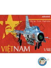 Eduard: Airplane kit 1/48 scale - Vietnam Mig-21 - Democratic Republic of Vietnam, July 1972 (VN0); Democratic Republic of Vietnam, February 1972 (VN0); Democratic Republic of Vietnam, March 1968 (VN0); Democratic Republic of Vietnam, April 1969 (VN0); Socialist Republic of Vietnam, 1979  (VN0) - different locations - full colour photo-etched parts, paint masks, photo-etched parts, plastic parts, water slide decals and assembly instructions