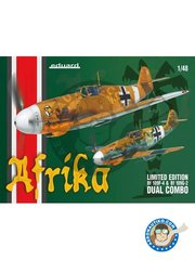 Eduard: Dual Combo 1/48 scale - Bf 109F-4 & Bf 109G-2 'Afrika' Limited Edition - Libya, end 1941 (DE2); Libya, December 1941 (DE2); Libya, June 1942 (DE2); Egypt, August 1942 (DE2); September, 1942 (DE2); autumn 1942 (DE2); Tunisia, November 1942 (DE2); Egypt, November 1942 (DE2); 1942 - 1943 (DE2); Tunisia, January 1943 (DE2); Libya, end of 1941 (DE2) - Luftwaffe Afrika - full colour photo-etched parts, paint masks, photo-etched parts, plastic parts, resin parts and assembly instructions - 2 units