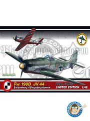 Eduard: Airplane kit 1/48 scale - Fw 190D JV44 - April - May  1945 (DE2); Austria, May 1945 (DE2); April - May 1945 (DE2); May 1945 (DE2) - Luftwaffe - full colour photo-etched parts, paint masks, plastic parts, water slide decals and placement instructions - 2 units
