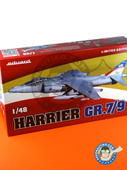 Eduard: Airplane kit 1/48 scale - McDonnell Douglas AV-8B Harrier GR. 7/9 - RAF Station Cottesmore, 2009 (GB1); Ahmed al Jaber Air Base, Kuwait, spring 2003 (GB1); 2002 (GB1); January 2004 (GB1); (GB1); RAF Coningsby Air Base, March 2006 (GB1) - different locations - full colour photo-etched parts, paint masks, photo-etched parts, plastic parts, resin parts, water slide decals and assembly instructions image