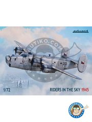 Eduard: Airplane kit 1/72 scale - B-24 Liberator Riders in the Sky 1945 - Tain, Great Britain, summer 1945 (GB4); Prague, Czechoslovakia, autumn 1945 (CZ0); Prague, Czechoslovakia, August 1945 (CZ0); Tain, Great Britain, Spring 1945 (GB4); Morokrembangan, Dutch East Indies, 1945 (); Cocos Island, 1944 (); the Bahamas, 1945 (GB3); Lichfield, Great Britain, 1946 (GB3); Ballykelly, Northen Ireland, December 1944 (GB3); Yarmouth, Canada, July 1945 (GB3) - full colour photo-etched parts, paint masks, photo-etched parts, plastic parts, water slide decals and assembly instructions