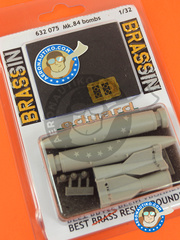 Eduard: Bombs 1/32 scale - Mk.84 bombs - Bombs - Weapons - photo-etched parts, resin parts, water slide decals and assembly instructions - for all kits - 2 units