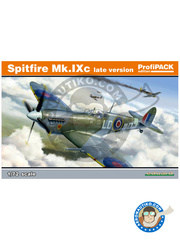 Eduard: Airplane kit 1/72 scale - Supermarine Spitfire Mk. IXc late - RAF (GB4); April 1945 (GB4) 1944 - full colour photo-etched parts, paint masks, plastic parts, water slide decals and assembly instructions image