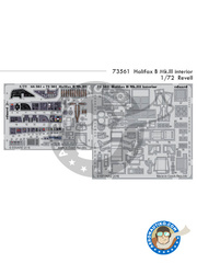 Eduard: Photo-etched parts 1/72 scale - Handley Page Halifax B Mk. III - RAF - full colour photo-etched parts, photo-etched parts and assembly instructions - for Revell kits image