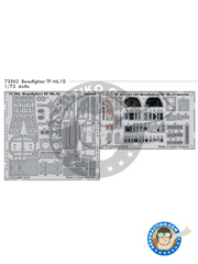 Eduard: Photo-etched parts 1/72 scale - Bristol Beaufighter TF Mk. X - full colour photo-etched parts, photo-etched parts and assembly instructions - for Airfix reference A04019 image