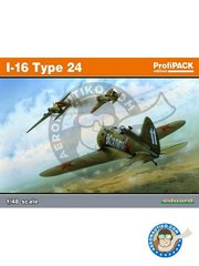 Eduard: Airplane kit 1/48 scale - I-16 Type 24 - summer 1941 (RU3); lake Ladoga, april 1942 (RU2);  (RU2); summer 1941 (RU2) - URSS - full colour photo-etched parts, paint masks, plastic parts, water slide decals and assembly instructions