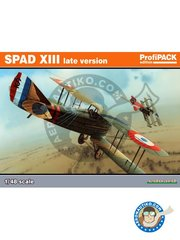 Eduard: Airplane kit 1/48 scale - SPAD XIII late version - August 1918 (FR0); September 1918 (FR0); Summer 1918 (FR0); Fall 1918 (FR0) - Aéronautique Militaire 1917 - paint masks, photo-etched parts, plastic parts, water slide decals and assembly instructions