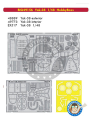 Eduard: Big ED set 1/48 scale - Yakovlev Yak-38 - URSS - full colour photo-etched parts, paint masks, photo-etched parts and assembly instructions - for Hobby Boss kits image