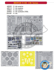 Eduard: Big ED set 1/48 scale - Grumman F-14 Tomcat A - full colour photo-etched parts, paint masks, photo-etched parts and assembly instructions - for Tamiya kits image