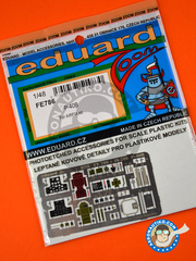Eduard: Coloured photo-etched cockpit parts 1/48 scale - Curtiss P-40 Warhawk B - full colour photo-etched parts and assembly instructions - for Airfix kits image