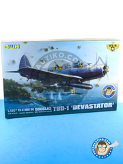 Great Wall Hobby: Airplane kit 1/48 scale - Douglas TBD Devastator 1 VT-8 - USAF (US5) 1942 - plastic parts, water slide decals and assembly instructions