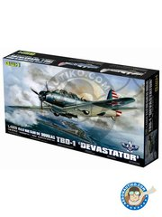Great Wall Hobby: Airplane kit 1/48 scale - Douglas TBD-1 Devastator - paint masks, photo-etched parts, plastic parts, water slide decals and assembly instructions