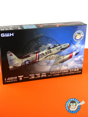 Great Wall Hobby: Airplane kit 1/48 scale - Lockheed T-33 Shooting Star A early version - USAF (US0); Luftwaffe (DE0); Aeronautica Militare Italiano (IT0) 1961 and 1964 - plastic parts, water slide decals and assembly instructions