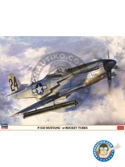 Hasegawa: Airplane kit 1/32 scale - North American P-51 Mustang - India, 1945, (US7); , Iwo Jima, 1945 (US7) - USAF - plastic parts, water slide decals and assembly instructions