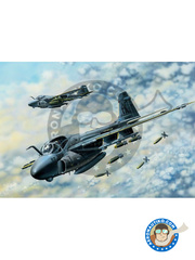 Hobby Boss: Airplane kit 1/48 scale - Grumman A-6 Intruder E TRAM - US Navy (US2); US Navy (US1) - plastic parts, water slide decals and assembly instructions image