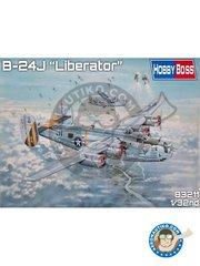 Hobby Boss: Airplane kit 1/32 scale - B-24J Liberator -  (US7) - photo-etched parts, plastic parts, rubber parts, water slide decals and assembly instructions