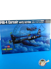 Hobby Boss: Airplane kit 1/48 scale - Vought F4U Corsair F4U-4 Early version - plastic parts, water slide decals and assembly instructions