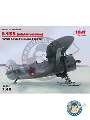 ICM: Airplane kit 1/48 scale - I-153 Winter Version - 1940 () - plastic parts, water slide decals and assembly instructions