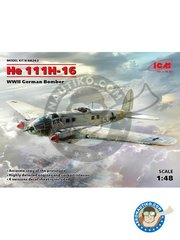 ICM: Airplane kit 1/48 scale - He 111H-16 - plastic parts, water slide decals and assembly instructions