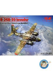 ICM: Airplane kit 1/48 scale - B-26B-50 Invader Korean War American Bomber - plastic parts, water slide decals and assembly instructions