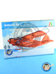 Italeri: Airplane kit 1/72 scale - Antonov An-2 - Soviet Air Forces (); Moldavian Air Force (MD0); People's Liberation Army Air Force PLAAF (CN0); Bulgarian Air Force (BG0); Polish Air Force (PL0); Estonian Air Force (EE0) - different locations - plastic parts, water slide decals and assembly instructions image