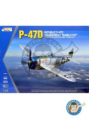 Kinetic Model Kits: Airplane kit 1/24 scale - P-47D Thunderbolt Bubble Top - St. Dizier, France 1944 (US7); Pisa, Italy 1945 (US7) - plastic parts, water slide decals and assembly instructions