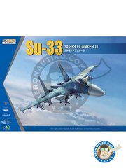 Kinetic Model Kits: Airplane kit 1/48 scale - SU-33 Flanker D - on board Admiral Kuznetsov. (RU2) - photo-etched parts, plastic parts, water slide decals and assembly instructions