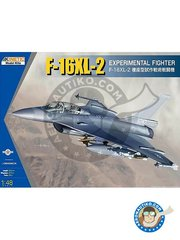 Kinetic Model Kits: Airplane kit 1/48 scale - F-16XL-2 Experimental Fighter -  (US1);  (US2) - plastic parts, water slide decals and assembly instructions