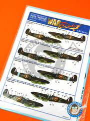 Kits World: Marking / livery 1/32 scale - Supermarine Spitfire Mk. IIa - RAF (GB3); RAF (GB4) - water slide decals and assembly instructions - for Revell reference REV03986