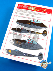 Kits World: Marking / livery 1/48 scale - Lockheed P-38 Lightning J - July 1943. (US5); USAF (US7) 1942 and 1944