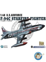 Kitty Hawk: Airplane kit 1/48 scale - F-94C Starfire -  (US0) - photo-etched parts, plastic parts, water slide decals and assembly instructions
