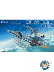 "Kitty Hawk: Airplane kit 1/48 scale - MiG-25RB/RBS ""Foxbat-B/D"" - photo-etched parts, plastic parts, water slide decals and assembly instructions"