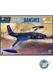 Kitty Hawk: Airplane kit 1/48 scale - F2H-2/-2P Banshee - photo-etched parts, plastic parts, water slide decals and assembly instructions
