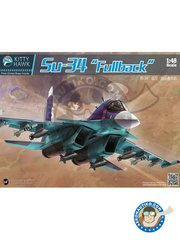 "Kitty Hawk: Model kit 1/48 scale - Su-34 ""Fullback"" -  (RU0) - Russia - photo-etched parts, plastic parts, resin parts, water slide decals and assembly instructions"