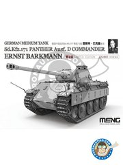 Meng Model: Tank kit 1/35 scale - Sd.Kfz.171 Panther Ausf.D Commander Ernst Barkmann - photo-etched parts, plastic parts, water slide decals and assembly instructions