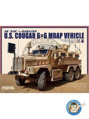 Meng Model: Military vehicle kit 1/35 scale - U.S. Cougar 6x6 MRAP Vehicle. US Marine Corps - photo-etched parts, plastic parts, rubber parts, water slide decals and assembly instructions