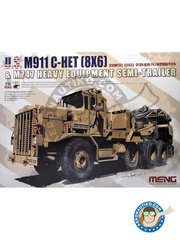 Meng Model: Military vehicle kit 1/35 scale - M911 C-HET (8x6) and M747 Heavy Equipment Semi-Trailer - metal parts, paint masks, photo-etched parts, plastic parts, rubber parts, water slide decals and assembly instructions