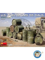 Miniart: Fuel drums 1/35 scale - US Fuel drums 55 galons - plastic parts - 12 units