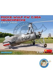 Miniart: Airplane kit 1/35 scale - Focke-Wulf Fw 30 Heuschrecke - photo-etched parts, plastic parts, water slide decals and assembly instructions