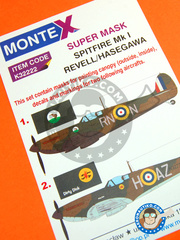 Montex Mask: Masks 1/32 scale - Supermarine Spitfire Mk. I - May/June 1940 (GB3); August 1940 (GB3) - RAF - paint masks and painting instructions - for Hasegawa or Revell kits