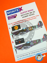 Montex Mask: Masks 1/32 scale - Supermarine Spitfire Mk. Vb - October 1941 (GB3); August 1943 (GB3) - RAF - paint masks, water slide decals and painting instructions - for Hobby Boss kit