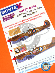 Montex Mask: Masks 1/32 scale - Supermarine Spitfire Mk. Vb - Tunisia, April 1943 (GB3) + La Sebala, Tunisia, mid 1943 (US5) - paint masks, water slide decals, placement instructions and painting instructions - for Hasegawa kit