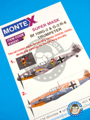 Montex Mask: Masks 1/32 scale - Messerschmitt Bf 109 G-2 - Achmer, early summer 1943. (DE2); July 1943. (DE2) - Luftwaffe - paint masks, water slide decals, placement instructions and painting instructions - for Hasegawa kits