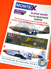 Montex Mask: Masks 1/32 scale - North American P-51 Mustang D - USAF (US7) 1944 - paint masks, water slide decals and assembly instructions - for Tamiya reference TAM60322